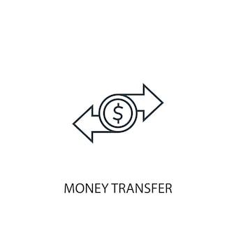 Ikona linii koncepcja przelew pieniędzy. prosta ilustracja elementu. koncepcja przelewu pieniędzy projekt symbolu konspektu. może być używany do internetowego i mobilnego interfejsu użytkownika/ux