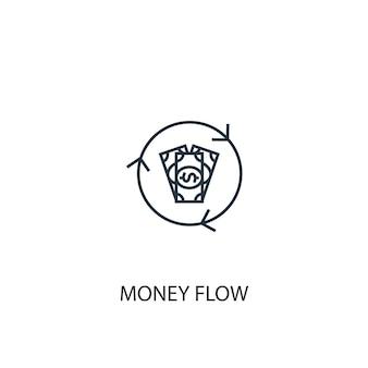 Ikona linii koncepcja przepływu pieniędzy. prosta ilustracja elementu. koncepcja przepływu pieniędzy zarys symbolu projektu. może być używany do internetowego i mobilnego interfejsu użytkownika/ux