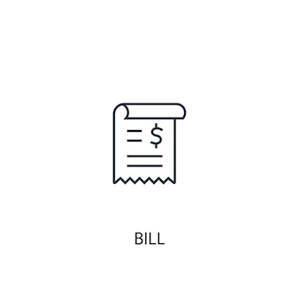 Ikona linii koncepcja rachunku. prosta ilustracja elementu. projekt symbolu konspektu koncepcji ustawy. może być używany do internetowego i mobilnego interfejsu użytkownika/ux