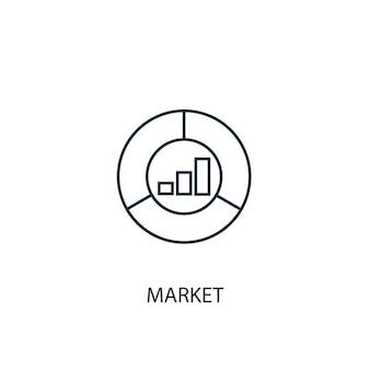 Ikona linii koncepcja rynku. prosta ilustracja elementu. koncepcja rynku zarys symbol projektu. może być używany do internetowego i mobilnego interfejsu użytkownika/ux