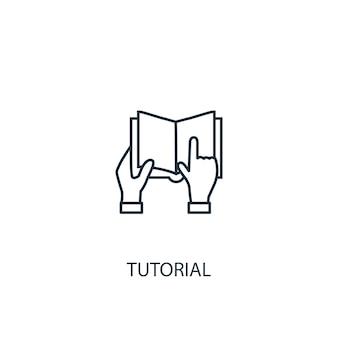 Ikona linii koncepcja samouczka. prosta ilustracja elementu. samouczek koncepcja symbol zarys projektu. może być używany do internetowego i mobilnego interfejsu użytkownika/ux