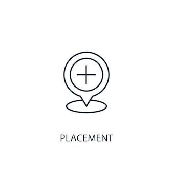 Ikona linii koncepcja umieszczenie. prosta ilustracja elementu. koncepcja rozmieszczenia projekt symbolu konspektu. może być używany do internetowego i mobilnego interfejsu użytkownika/ux