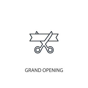 Ikona linii koncepcja wielkiego otwarcia. prosta ilustracja elementu. wielkie otwarcie koncepcja symbol zarys projektu. może być używany do internetowego i mobilnego interfejsu użytkownika/ux