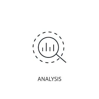 Ikona linii koncepcji analizy. prosta ilustracja elementu. analiza koncepcji zarys projektu symbolu. może być używany do internetowego i mobilnego interfejsu użytkownika/ux
