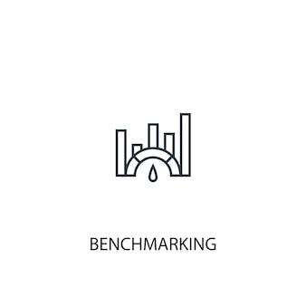 Ikona linii koncepcji benchmarkingu. prosta ilustracja elementu. benchmarking koncepcja symbol zarys projektu. może być używany do internetowego i mobilnego interfejsu użytkownika/ux