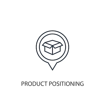 Ikona linii koncepcji pozycjonowania produktu. prosta ilustracja elementu. projekt symbolu konspektu pozycjonowania produktu. może być używany do internetowego i mobilnego interfejsu użytkownika/ux