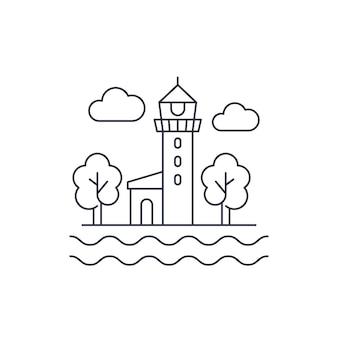 Ikona linii latarni morskiej na białym