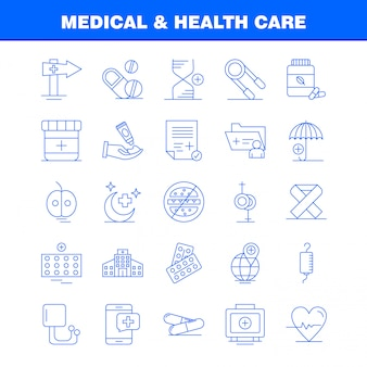 Ikona linii medycznej i opieki zdrowotnej dla zestawu internetowego, drukowanego i mobilnego ux / ui.