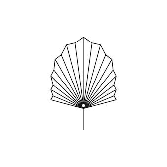 Ikona linii suszonych liści palmowych w modnym stylu minimalistycznym. godło boho tropikalny liść wektor. ilustracja kwiatowa do tworzenia logo, wzoru, nadruków na koszulkach i ścianach, projektowania tatuaży, postów w mediach społecznościowych i historii