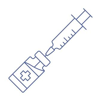 Ikona linii szczepionki koronawirusowej strzykawka ze znakiem fiolki butelka szczepionki medycznej z symbolem strzykawki