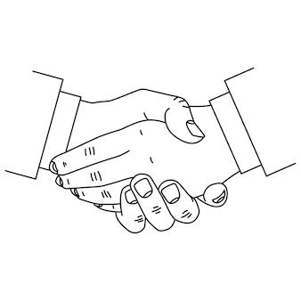 Ikona linii uścisk dłoni na białym tle na białym tle.