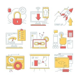 Ikona linii witryny. sieci online narzędzia mobilni i sieć rozwoju cyfrowy kod i projektują wektor