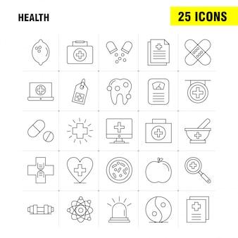 Ikona linii zdrowia dla zestawu ux / ui dla internetu, drukowania i telefonu komórkowego.