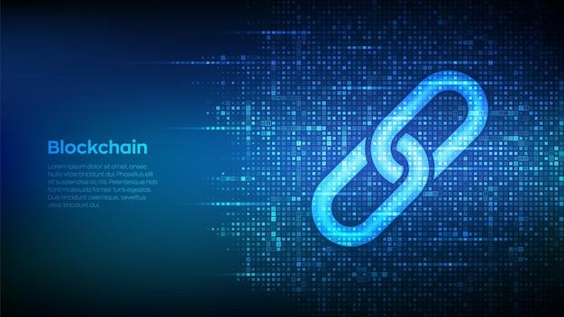 Ikona linku wykonana za pomocą kodu binarnego. technologia blockchain. symbol współpracy. komunikacja, bezpieczeństwo, bezpieczeństwo w internecie, koncepcja połączenia.