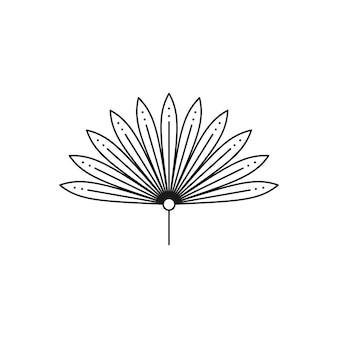 Ikona liścia palmowego w modnym stylu minimalistycznym liniowej. wektor godło tropikalny suszony liść. boho floral illustration do tworzenia logo, wzorów, nadruków na koszulkach, projektowania tatuaży, postów w mediach społecznościowych i historii