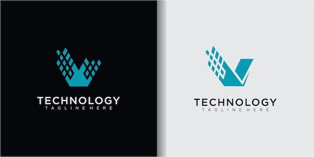 Ikona litery v, technologia inteligentne logo, biznes związany z komputerem i danymi, elektroniczny wektor logo, symbol linii