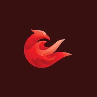Ikona logo abstrakcja ptak i ogień płomień feniks