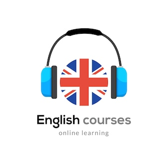 Ikona logo do nauki języka angielskiego ze słuchawkami creative english