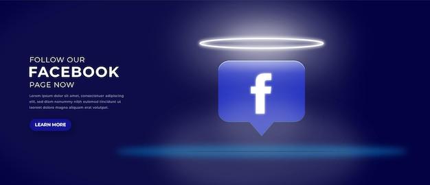 Ikona logo facebooka z banerem efektu świetlnego 3d premium wektorów