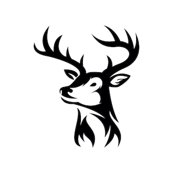 Ikona logo głowa jelenia na białym tle