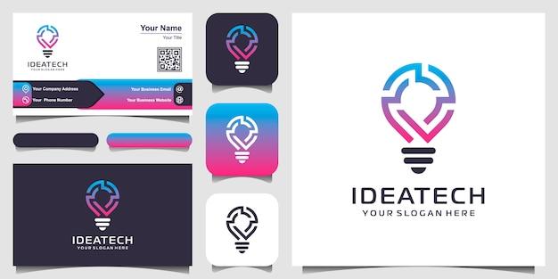 Ikona logo inteligentne żarówki tech i projekt wizytówki. idea strategii projektowanie logo. logo pomysł kreatywnej żarówki. technologia cyfrowego logo żarówki idea