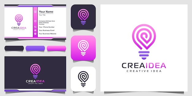 Ikona logo inteligentne żarówki tech i wizytówki. projektowanie logo żarówki kolorowe. logo pomysł kreatywnej żarówki. technologia cyfrowego logo żarówki idea