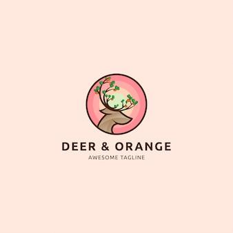 Ikona logo jelenia i pomarańczy