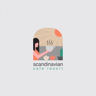 Ikona logo kawiarni z wieloma elementami