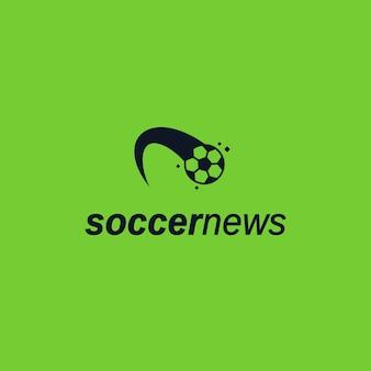 Ikona logo kicked ball. szablon logo strony internetowej wiadomości piłki nożnej
