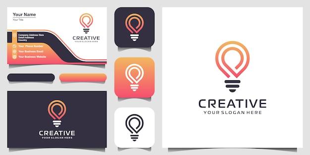 Ikona logo kreatywnych inteligentnych żarówek i projektowanie wizytówek