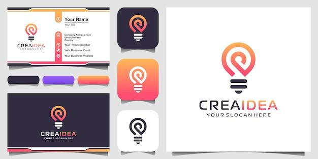 Ikona logo kreatywnych żarówek i projekt wizytówki