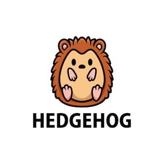 Ikona logo kreskówka ładny jeż ilustracja