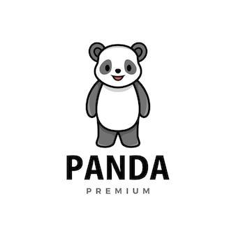 Ikona logo kreskówka ładny panda ilustracja