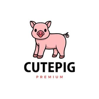 Ikona logo kreskówka ładny świnia ilustracja