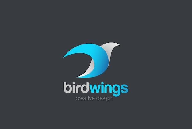 Ikona logo latającego ptaka. styl liniowy