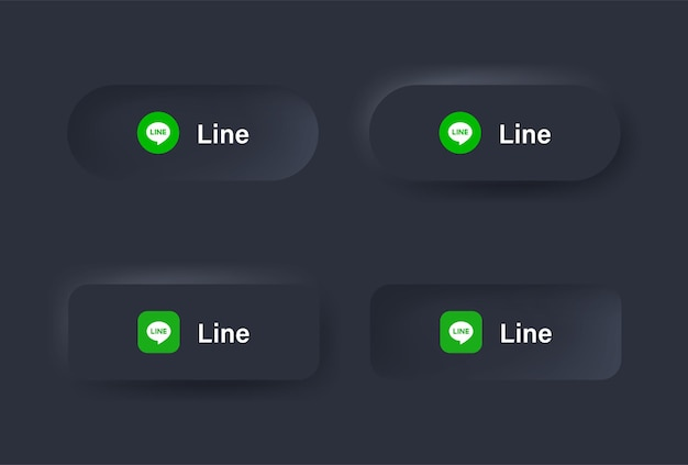 Ikona logo linii neumorficznej w czarnym przycisku dla ikon mediów społecznościowych logo w przyciskach neumorfizmu