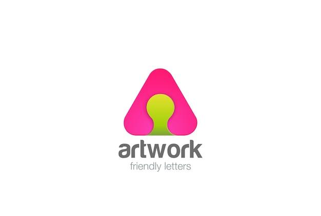 Ikona logo litery a. styl liniowy.