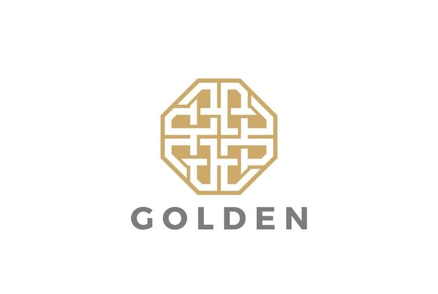 Ikona logo luksusowej biżuterii moda. styl liniowy