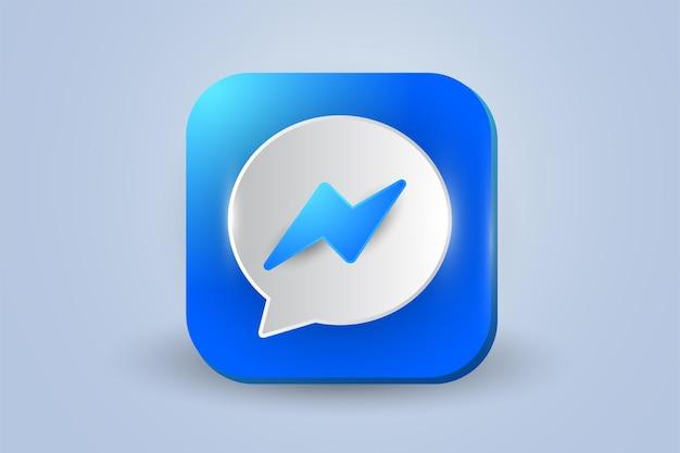Ikona logo messenger 3d na białym tle
