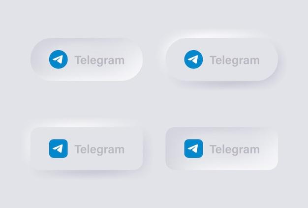 Ikona logo neumorficznego telegramu dla popularnych ikon mediów społecznościowych logo w przyciskach neumorfizmu ui ux