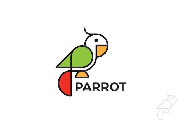 Ikona logo papugi. styl liniowy