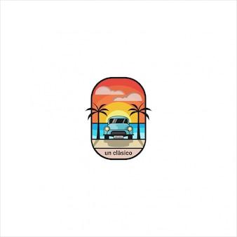 Ikona logo, prosta ilustracja klasycznego samochodu