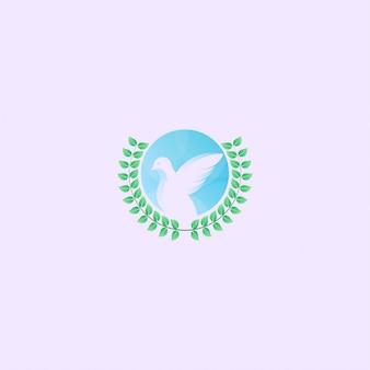 Ikona logo ptak z koncepcją kształt koła