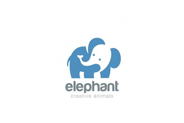 Ikona logo słonia. negatywny styl przestrzeni