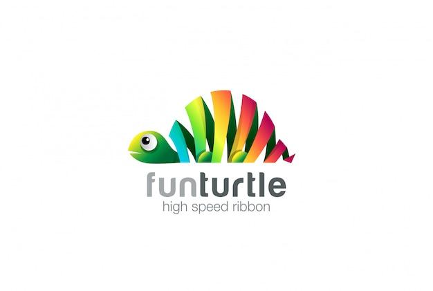 Ikona logo streszczenie kolorowe wstążki żółwia.