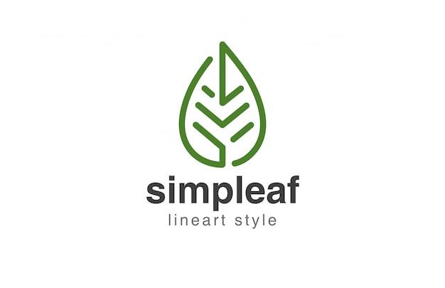 Ikona logo streszczenie styl liniowy liść