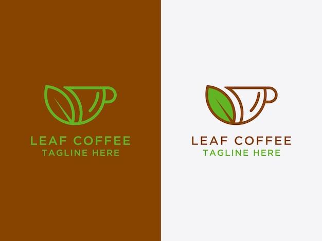 Ikona logo szablonu projekt liścia i kawa