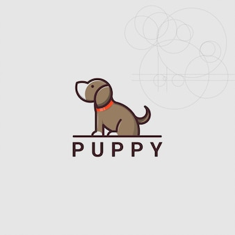 Ikona logo szczeniaka psa ze złotym stylem proporcji