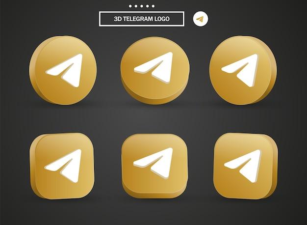 Ikona logo telegramu 3d w nowoczesnym złotym kole i kwadracie dla logo ikon mediów społecznościowych