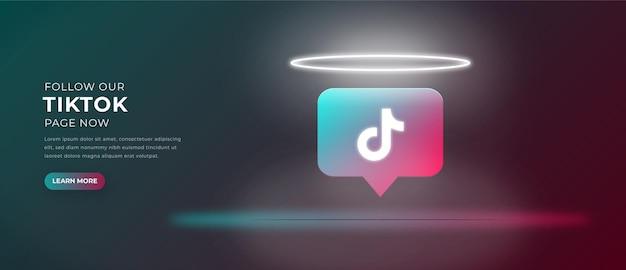 Ikona logo tiktok z banerem efektu świetlnego 3d premium wektorów